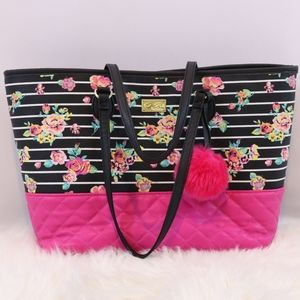 Betsey Johnson Striped Floral Quilted Tote Bag